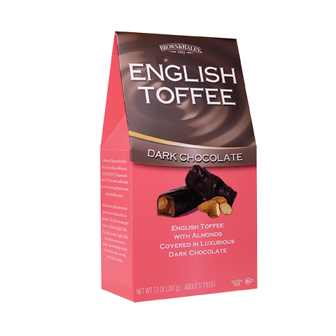 0372 7.3 oz English Toffee Stand-up Box - Right-facing View