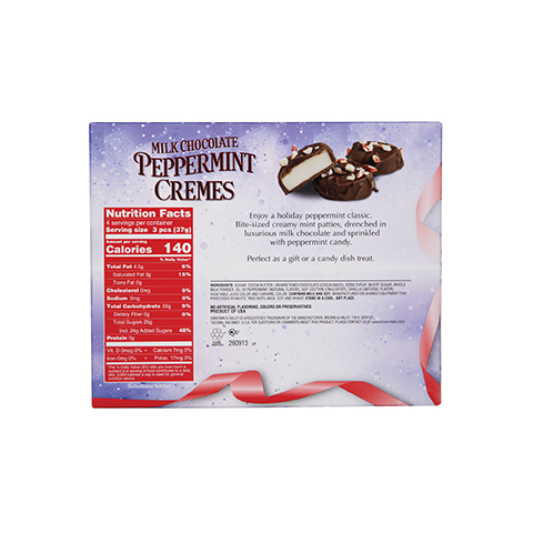 5856 5.6 oz Milk Chocolate PEPPERMINT CREMES - Back-side View