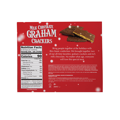 5858 5.6 oz CHOCOLATE COVERED GRAHAM CRACKERS Gift Box - Back View