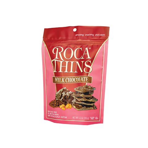 3311 5.3oz Milk Chocolate ROCA® Thins Stand-up Pouch - Left-facing View
