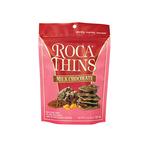 3311 5.3 oz Milk Chocolate ROCA® Thins Stand-up Pouch - Straight-front View
