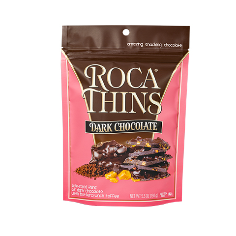 3310 5.3oz Dark Chocolate ROCA® Thins Stand-up Pouch - Straight-front View