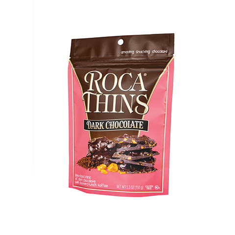 3310 5.3oz Dark Chocolate ROCA® Thins Stand-up Pouch - Left-facing View