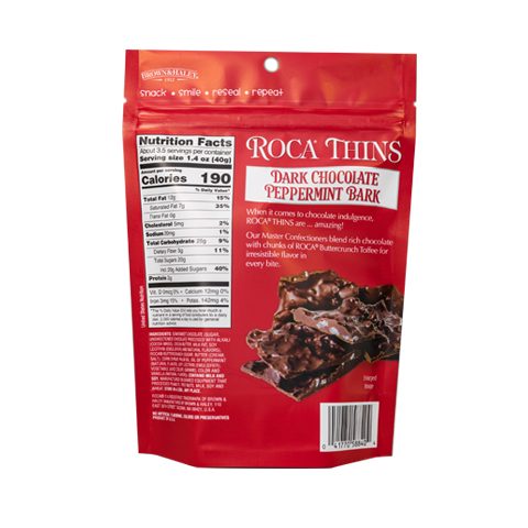 5884 5.3 oz Dark Chocolate Peppermint ROCA® Thins - Back—side View