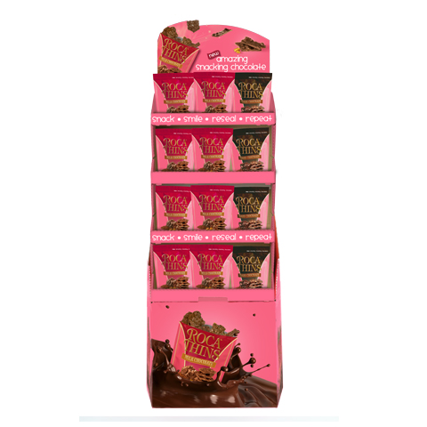 3334 150g Milk Chocolate ROCA® Thins and Dark Chocolate ROCA® Thins Stand-up Pouch Shipper-48 ct. - Straight-front View