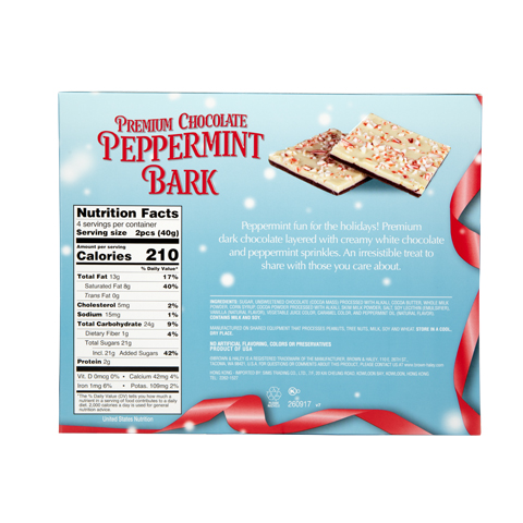 5850 5.6 oz Two Tone PEPPERMINT BARK - Back View