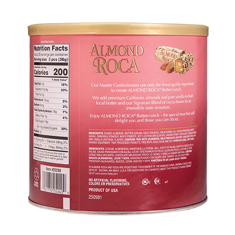 0524 42 oz Almond ROCA® Canister - Back-side View