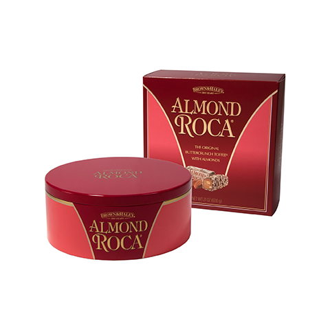 0260 21 oz Almond ROCA® Gift Tin in a BOX - Front-view