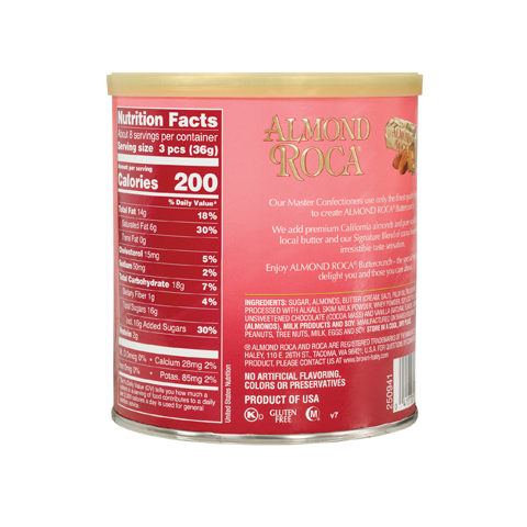 0568 10 oz ALMOND ROCA® Canister - Back-side View