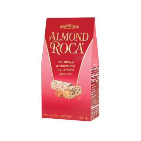 0581 5 oz ALMOND ROCA® Stand-up Box - Left-facing View