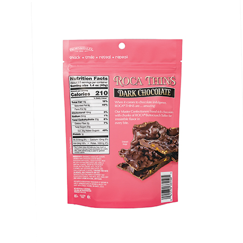 3310 5.3oz Dark Chocolate ROCA® Thins Stand-up Pouch - Back-side View