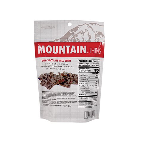 3336 5.3 oz Wild Berry Mountain® Thins Stand-up Pouch - Back-side View