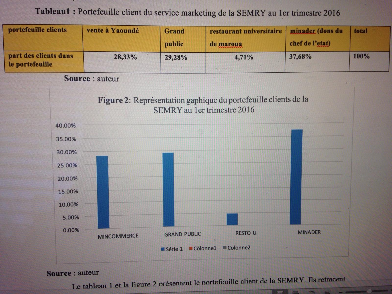 Tableau1 :  Portefeuille client du service marketing de la SEMRY au 1er trimestre 2016