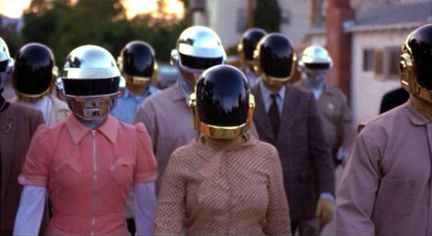 Screen capture from cult scifi film  Daft Punk 's  ELECTROMA  Athena Stamos (left) & Carrington Kilduff (right) Directed by: Thomas Bangalter & Guy-Manuel de Homem-Christo