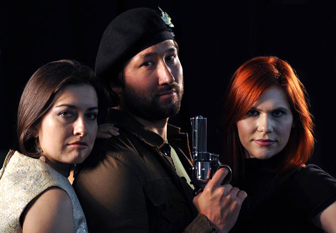 Publicity Shot for reality hybrid web series  NEXT TOP SUPER SPY - left to right - Sidonia Del Inferno ( Malina Germanova ), Henchman (Jorge Devotto), Vicki Lipstick (Athena Stamos) Directed by Maxime Brulein, Produced by  Two M Films