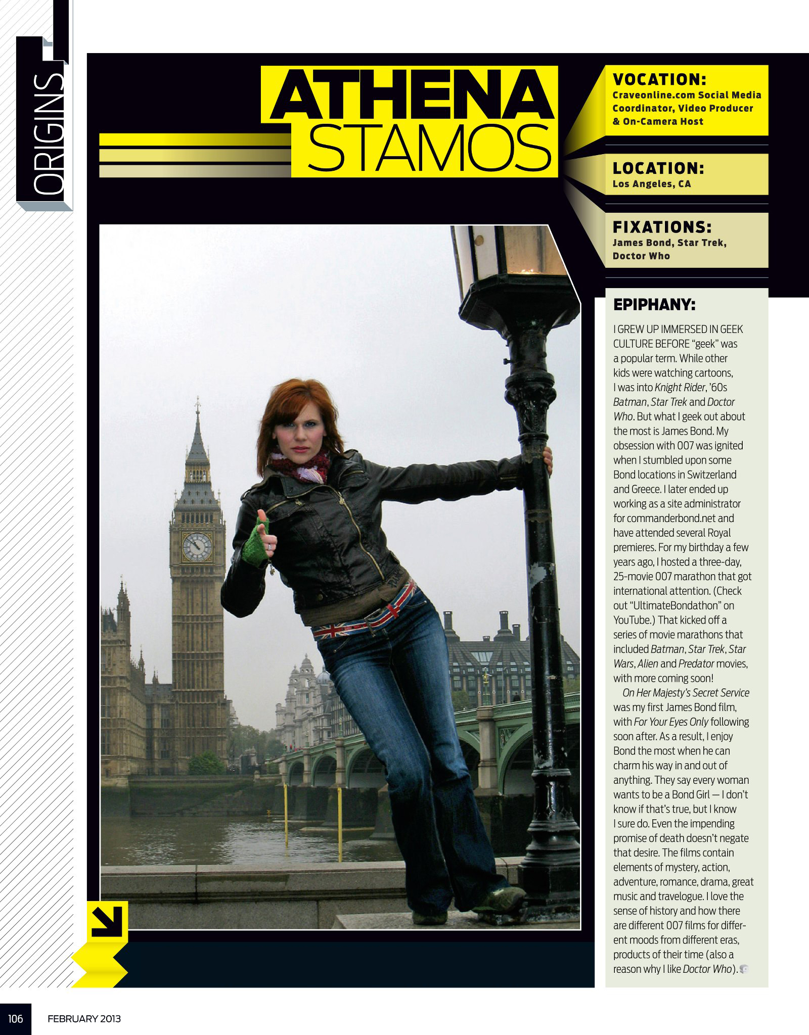 GEEK Magazine , volume 5. Representing James Bond as a team member at  commanderbond.net . Photographer: David Winter