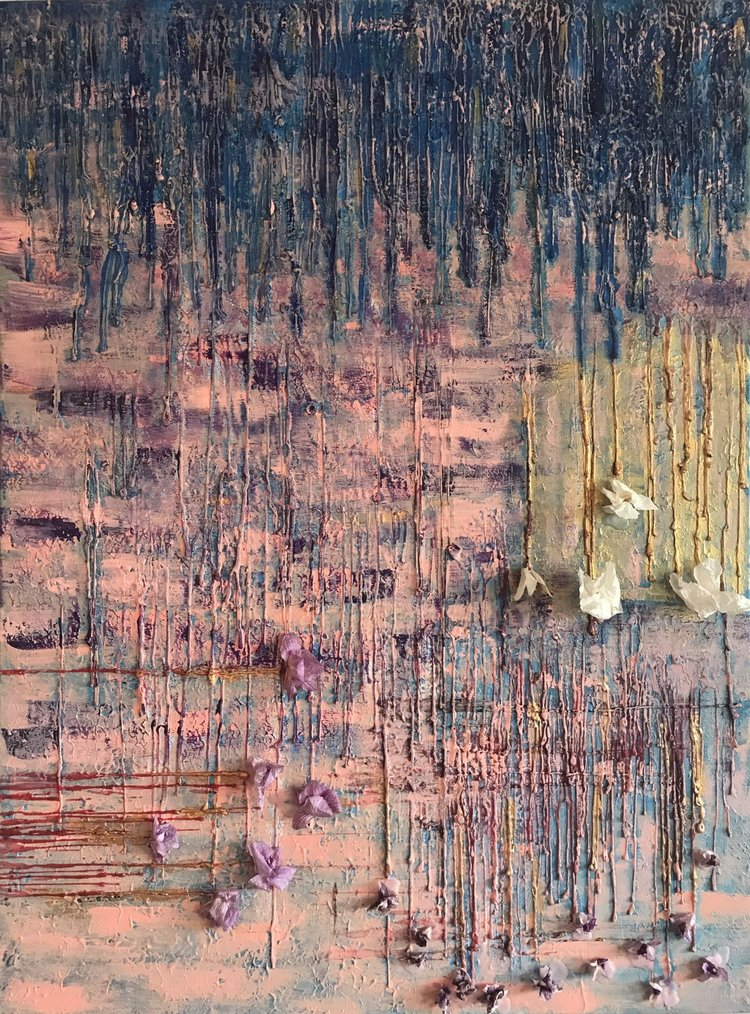 Art Piece: A Life's Journey Medium: Finger painted acrylic, candle wax and dried orchids. The Story: We all go through struggle (symbolized by the blue streaks) that temporarily take over our lives. But that is temporary and we from struggle transform to a higher level (symbolized by the gold & white orchids). However we typically forget this golden transformation and face smaller struggles and find ourselves growing once again in different directions (symbolized by the red streaks). Embrace this transformative journey of life and strive to always be in that golden moment.
