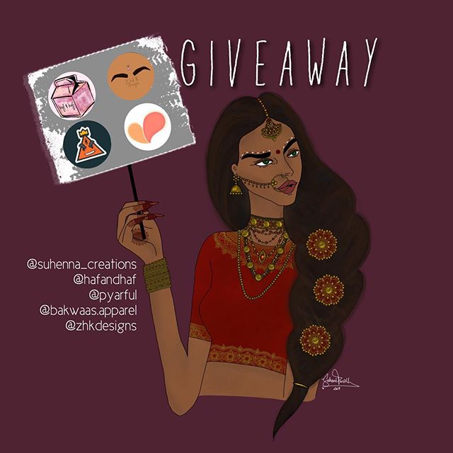 back at it again with another dope giveaway with more dope artists and brands 🔥 @suhenna_creations  @hafandhaf  @pyarful @bakwaas.apparel @zhkdesigns  have partnered up to bring you a super dope giveaway, OPEN WORLDWIDE  here's what you'll win: a @suhenna_creations tee a @hafandhaf print  a few @pyarful cards a @bakwaas.apparel tee a @zhkdesigns print and stickers RULES: -follow all 5 accounts -like this photo -tag 3 friends (no celebrities or spam accounts) —each comment is a new entry, must be different tagged friends in each —story posts tagging all 5 of us are an additional 5 entries —you can enter as many times as you want —CLOSES JUNE 7, winner will be announced on @suhenna_creations Instagram story so stay updated!