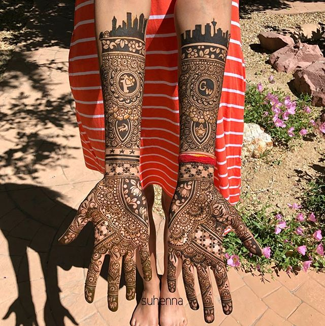 the beautiful @divooma bridal mendhi! (who in my personal opinion could be a long lost twin of @sonamkapoor ) - we added so many little personalized bits in this one, try to spot/guess them all! And see if you can find the grooms name! (Shiv) . . . #suhenna #henna #hennaart #Hennatattoo #hennatattoos #vegashenna #lasvegashenna #mendhi #bridal #bridalmendhi #bridalhenna #indianwedding #desiwedding #shaadi