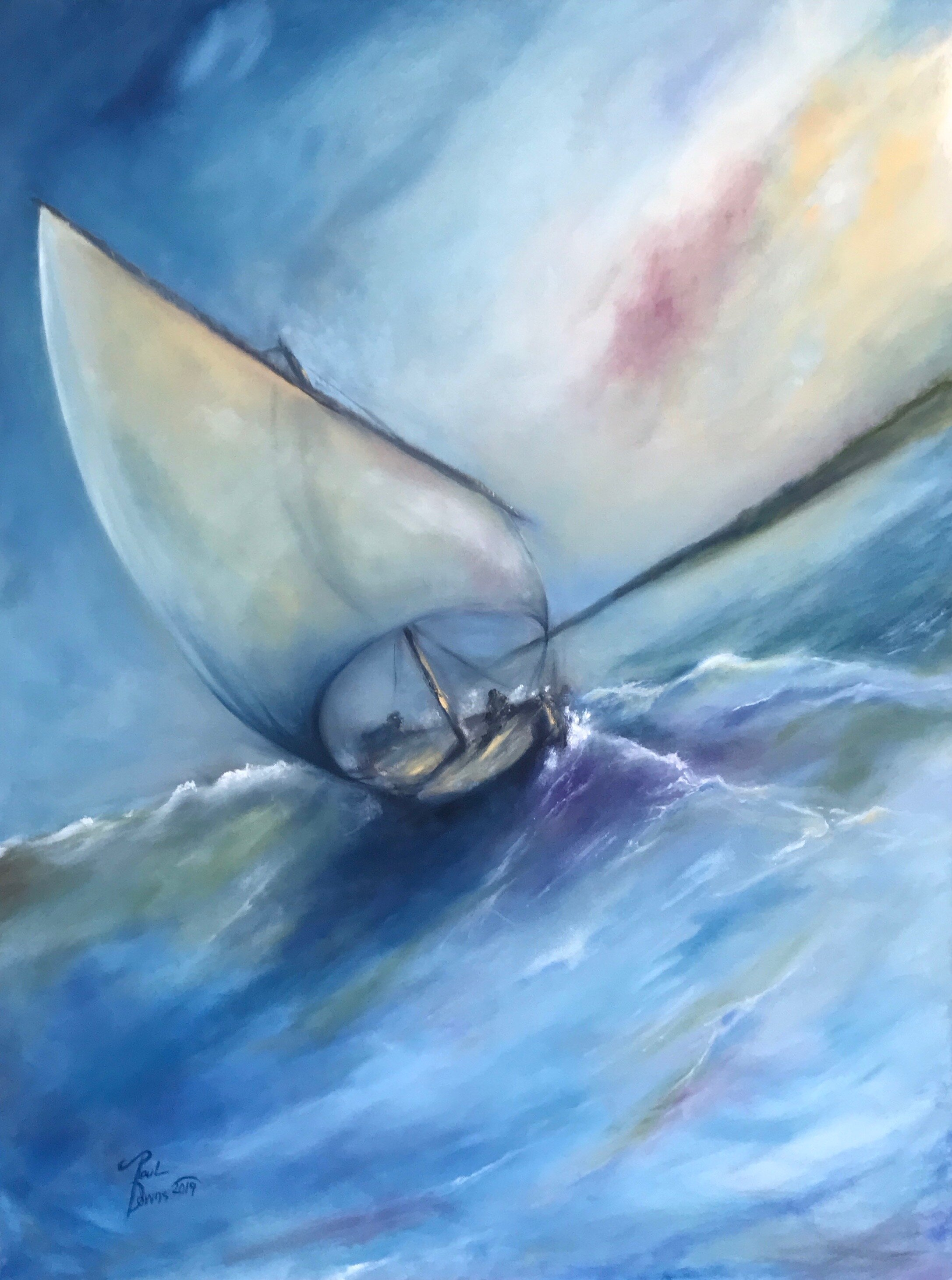 THROUGH THE WINDBLOWN 36X48 OIL ON CANVAS