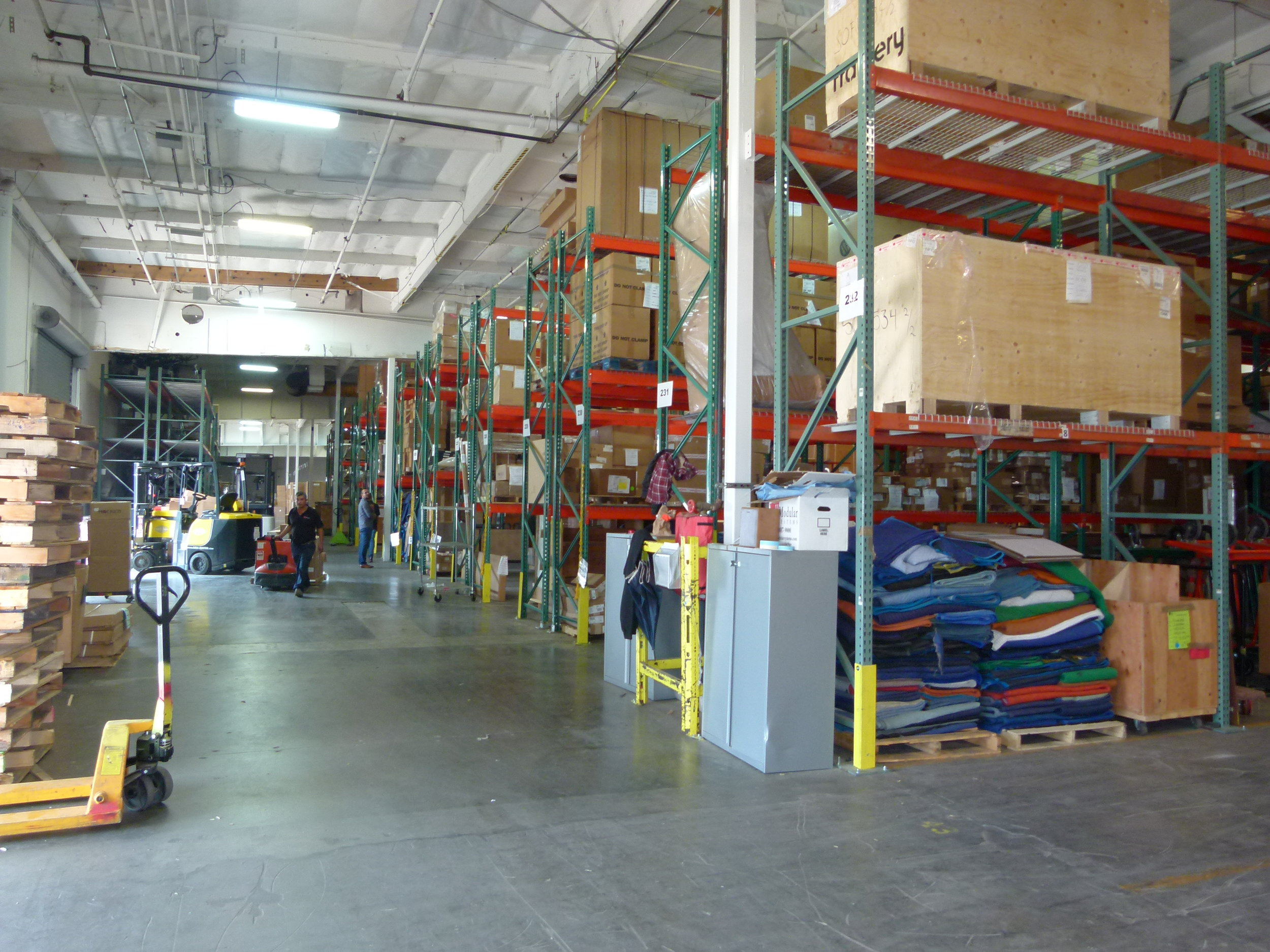 Warehouse + Storage -  Our 120,000 sq.ft warehouse is always available to store your furniture.We manage and track goods from the point of order entry until received at our facility. Customized receiving report updates are issued to our customers until the last piece of the order is received. You will have asset management to ensure that you have your valuable office furniture and other assets in a safe location and that you will have a detailed inventory and a method to retrieve and/or store your assets whenever you need to.