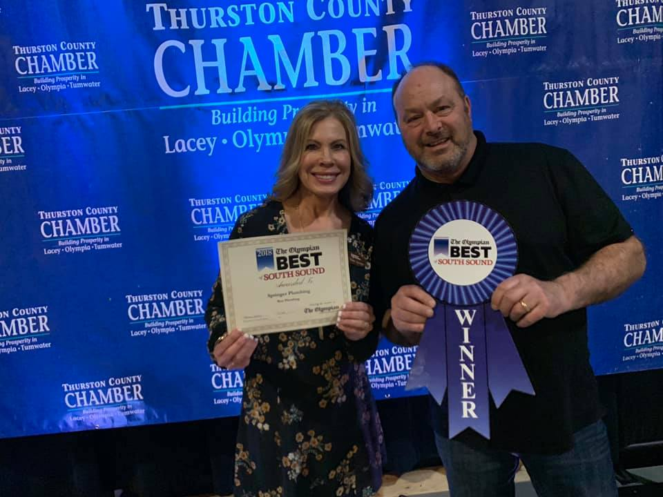 Owners, Ron and Diane Springer, receiving their 2018 Best of South Sound award.