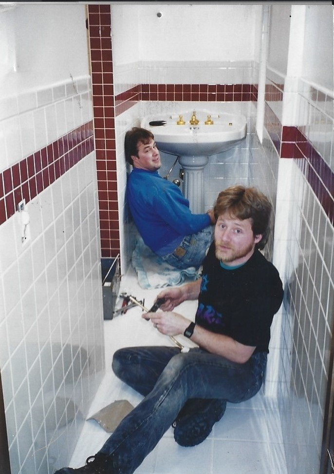 Darin Jenson, employee of 17 years and Ron Springer on a new construction project in the 1990's.