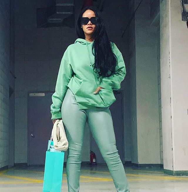 "@badgalriri lookin like money 💚 get the look in our ""Belize"" shades swipe or click to shop"