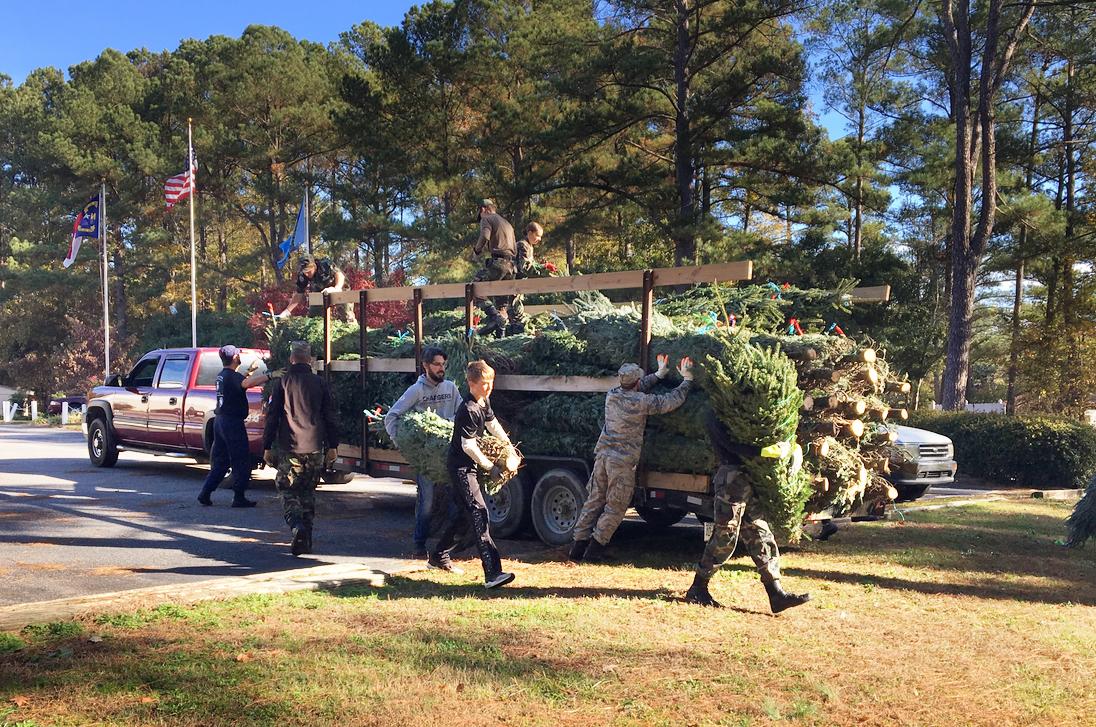 The Civil Air Patrol begins unloading trees b c.jpg