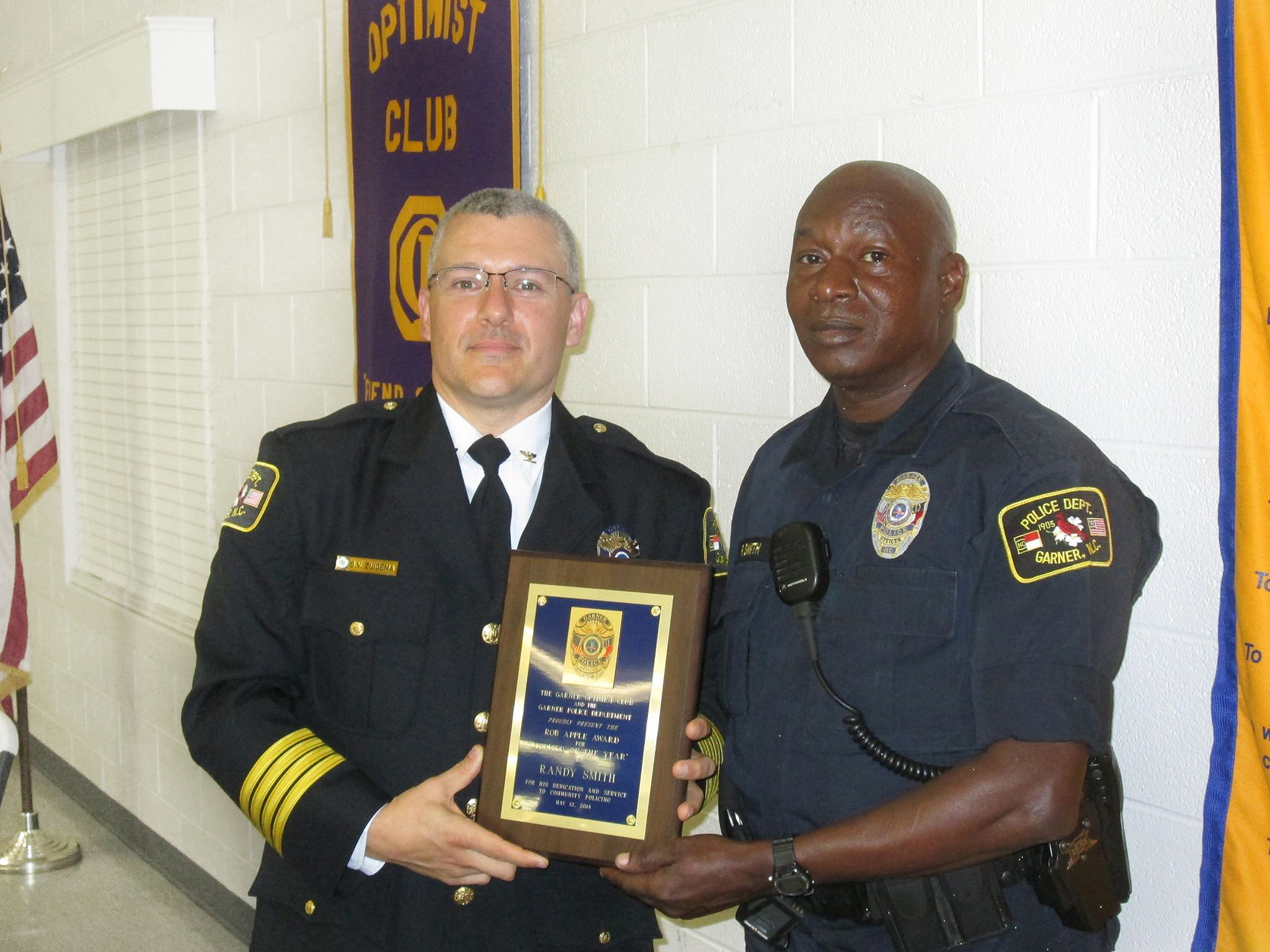 Garner Optimist Club hosted Respect For Law Dinner.Chief Brandon Zuidema Presented Randy Smith, Officer Of The Year Award.