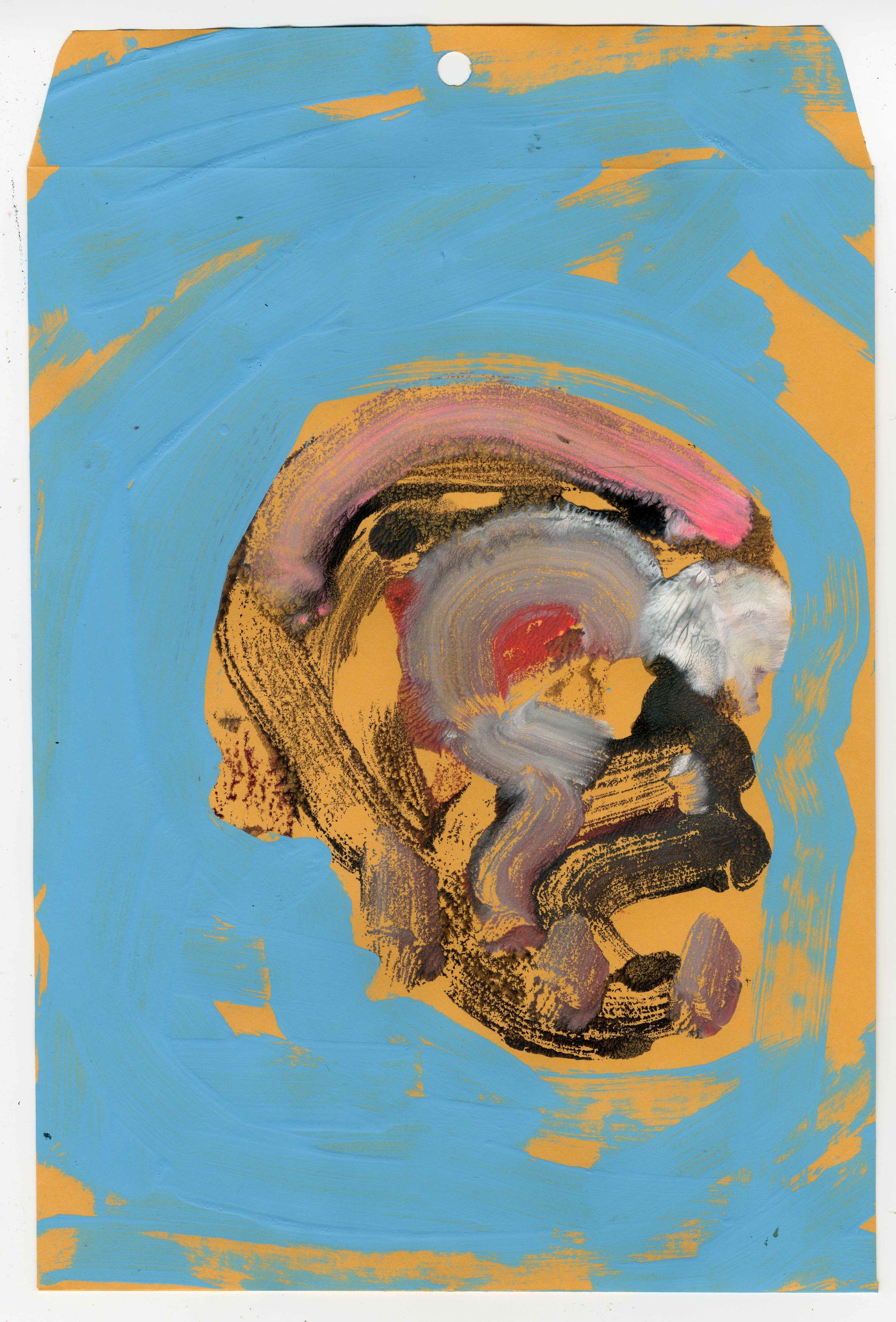 Skull study (Light blue), Mixed Media, 9 x 12, 2016.jpg
