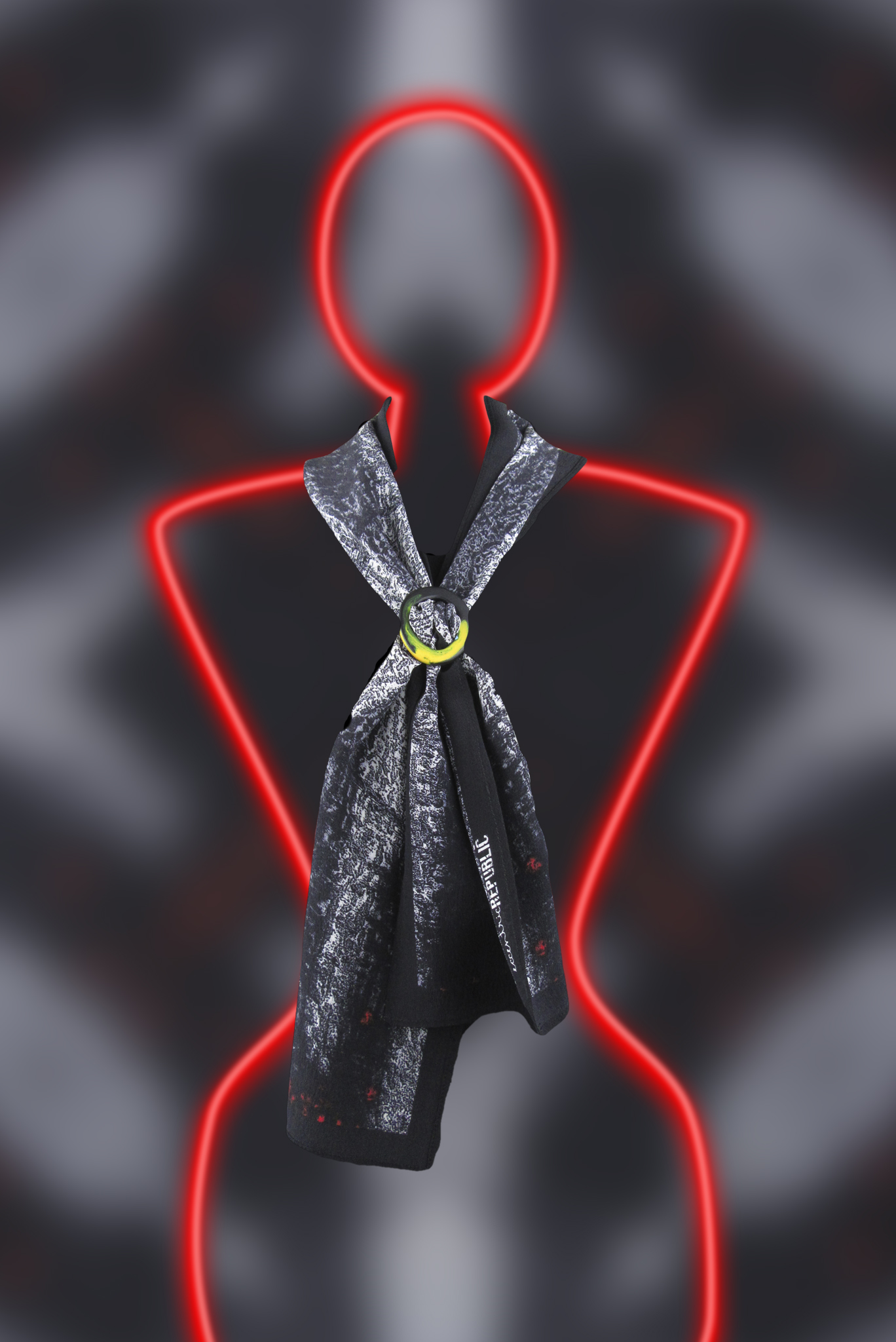 Fold your square scarf in half diagonally or into a rectangle. Drape around your neck and feed both ends up through the top hole of the scarf ring, over the centre bar and down through the bottom hole. Wear the ends at the same length or one up and one down.