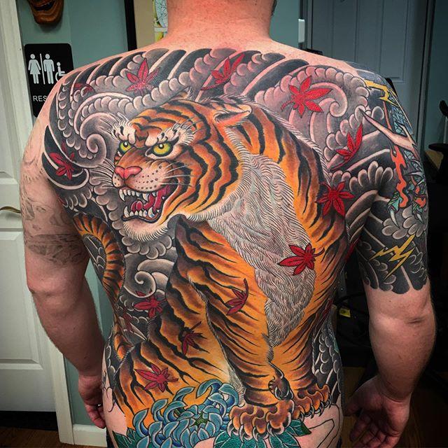 Tiger back piece done by @rich_cahill #tiger #anchorsaweightattoo #beachtattoos #bradleybeachnj #tigerbackpiece