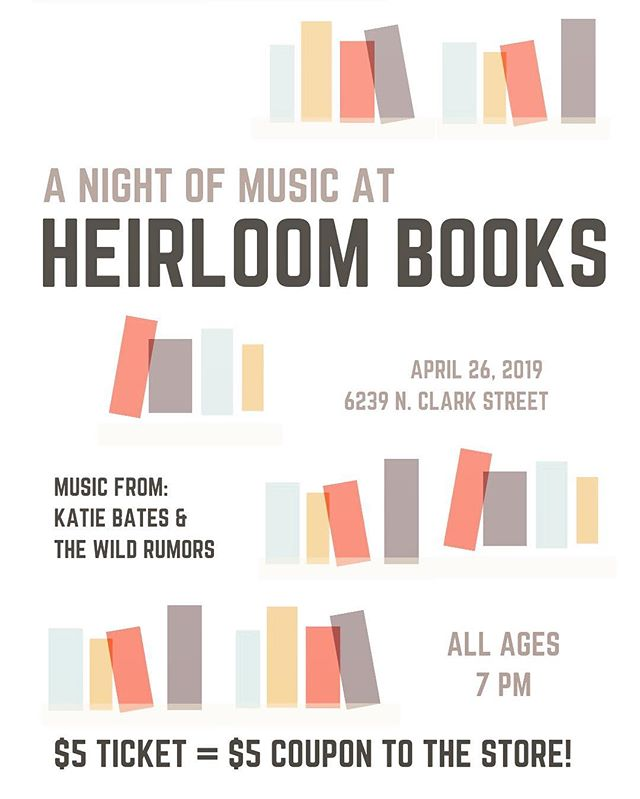 Friday April 26! We're looking forward to presenting a night of music in this cozy local bookstore.  @heirloombooksofficial in Edgewater. Featuring special guest artist @katieqbates  Like @sofarchicago, but not a  scam.  Your $5 ticket goes to the performers AND serves as a $5 coupon at the store. Get some lit'rature in your life!  #chicagomusic #chicagonightlife #edgewaterchicago #bookstore #houseshow #livemusic #chicagoband #musicmonday