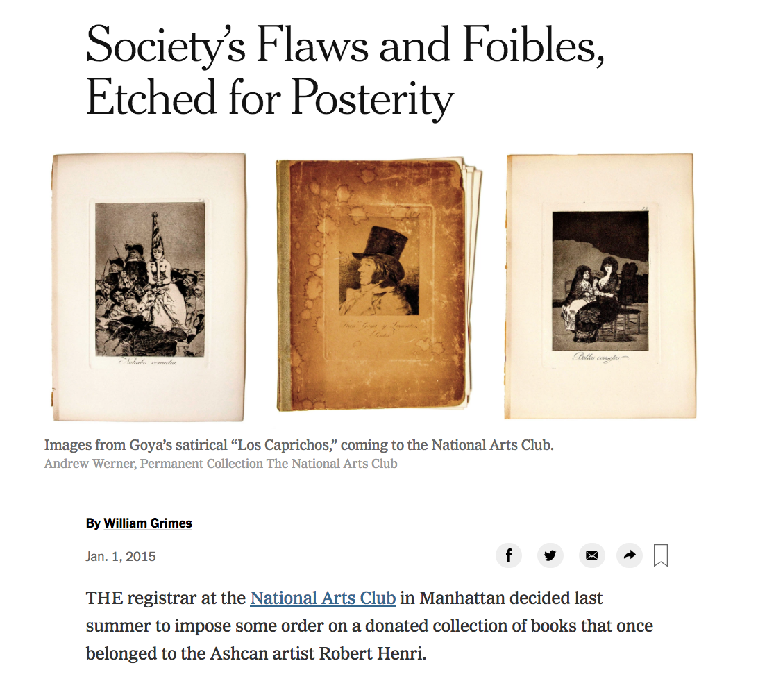 NEW YORK TIMES - Society's Flaws and Foibles, Etched for Posterity