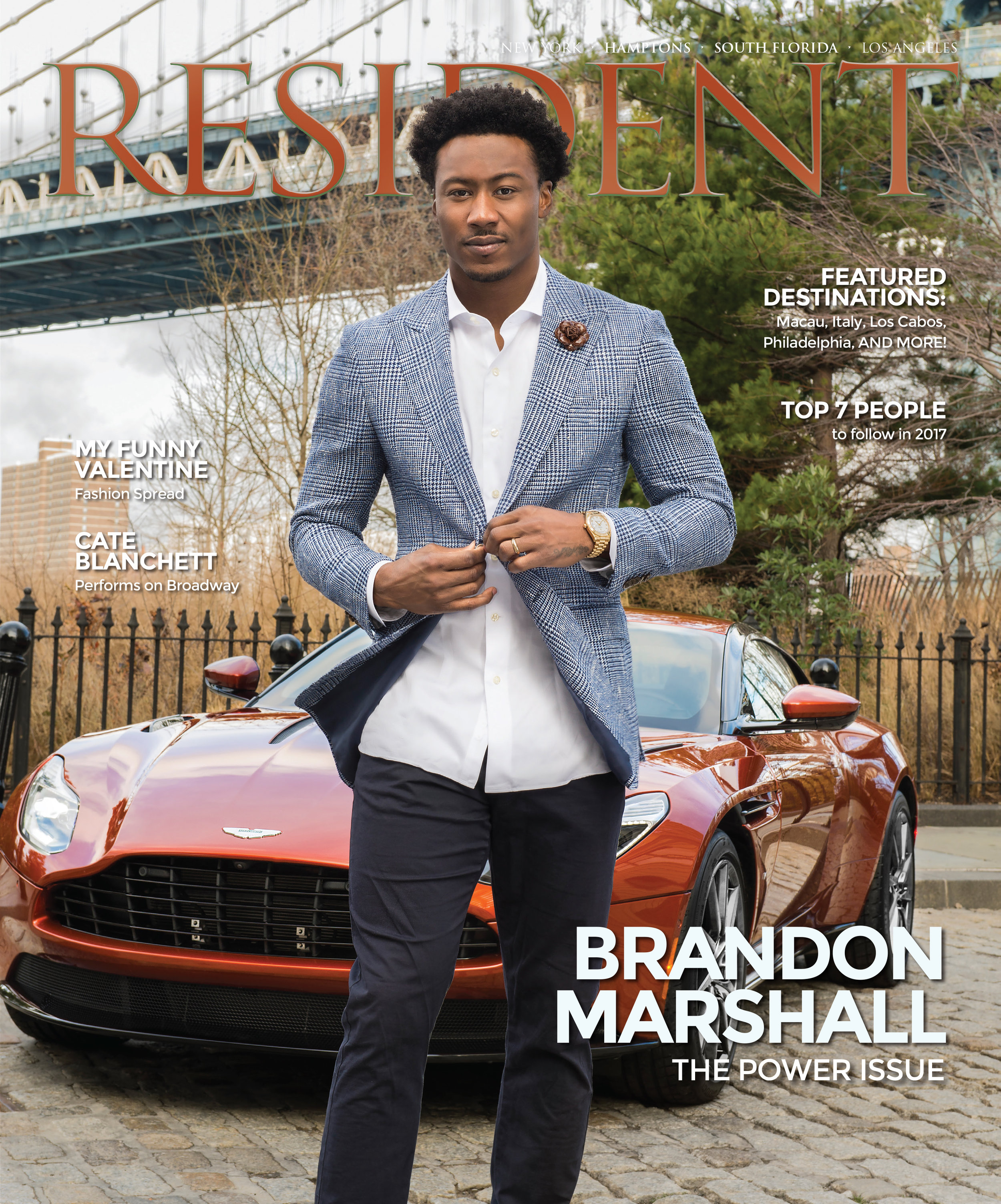 Brandon Marshall wearing Fleur'd Pins on the cover of Resident Magazine, February 2017 - photo by Andrew Werner.jpg