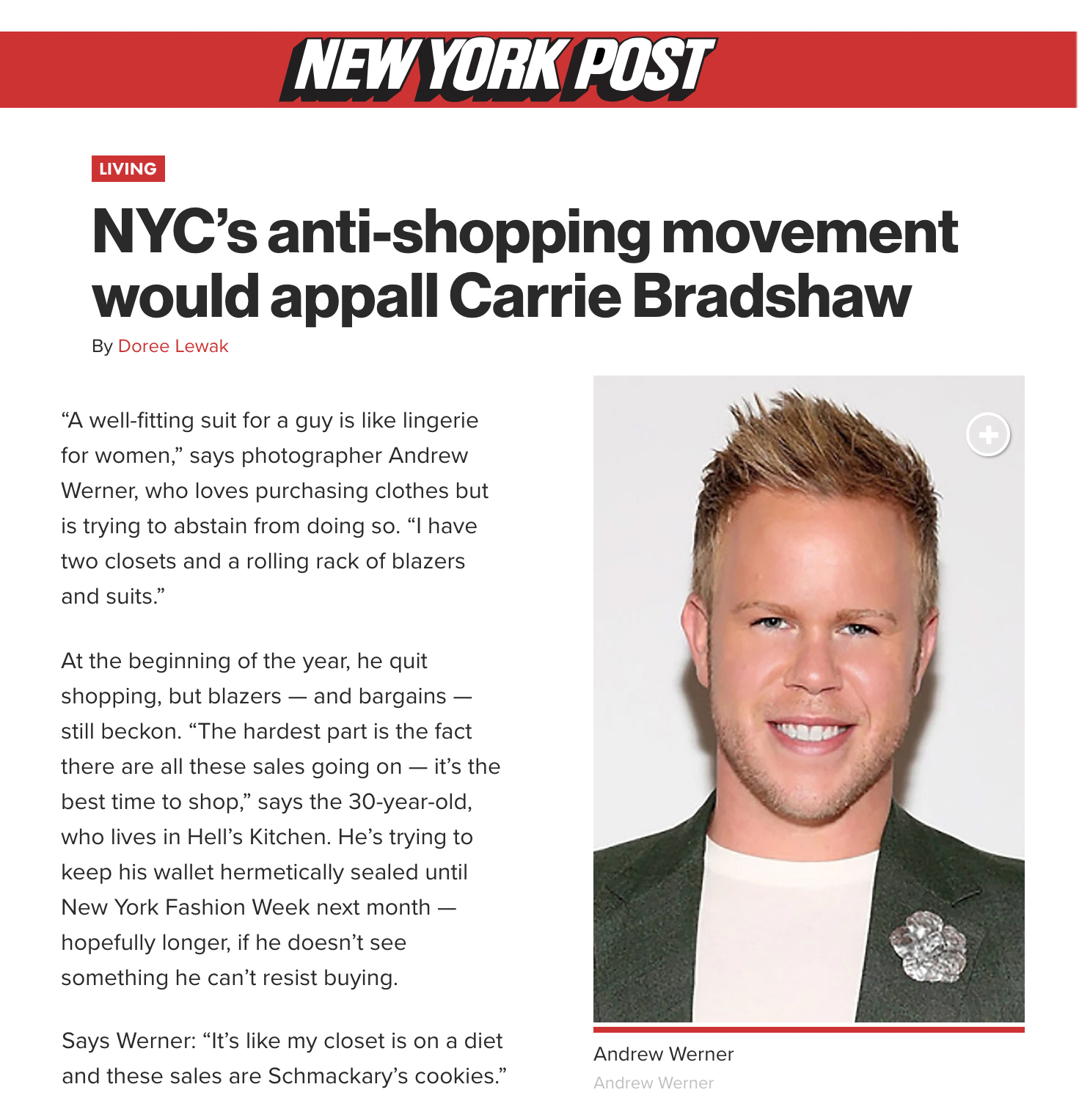 NEW YORK POST - NYC's anti-shopping movement would appall Carrie Bradshaw