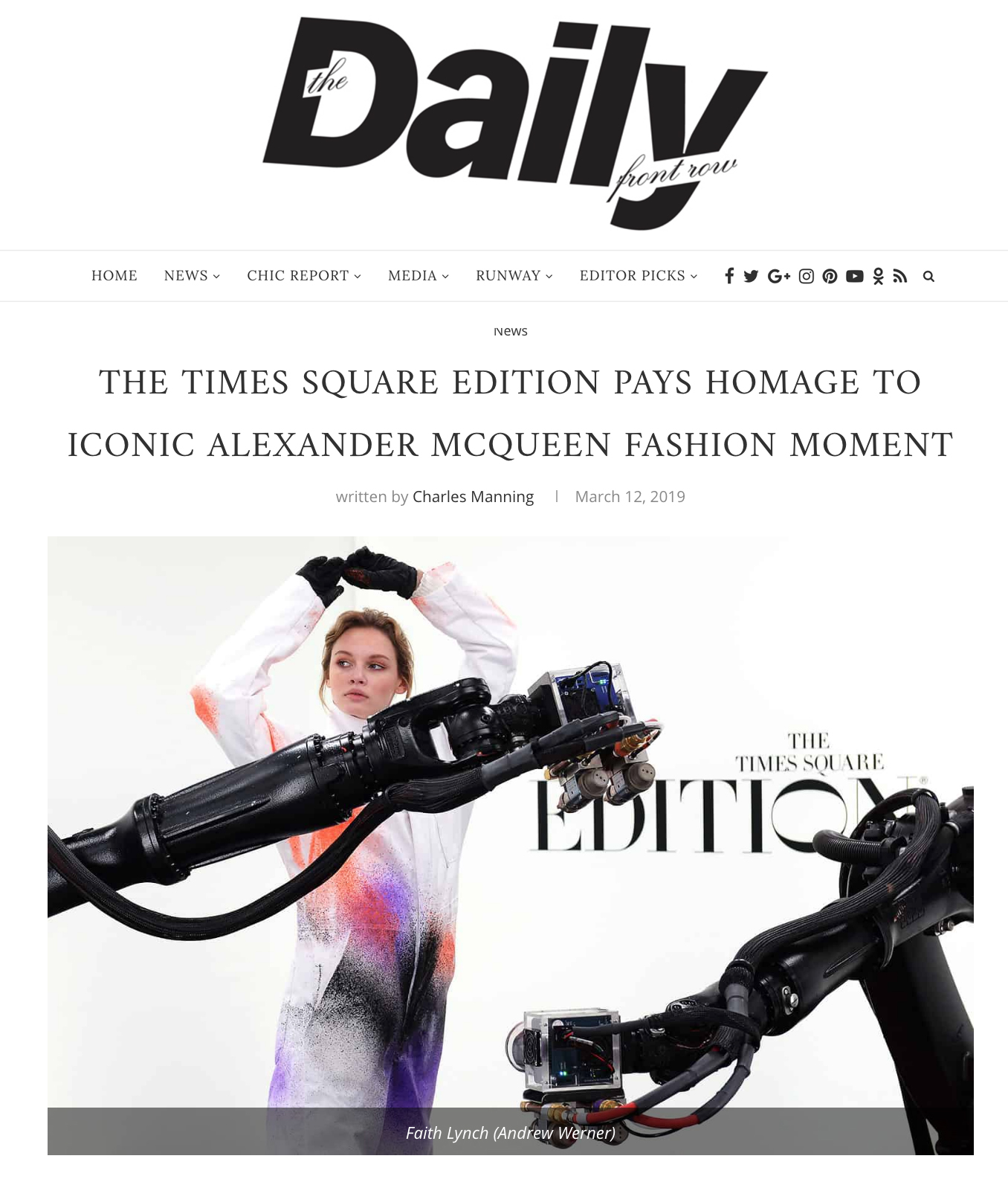 DAILY FRONT ROW - TIMES SQUARE EDITION PAYS HOMAGE TOICONIC ALEXANDER MCQUEEN