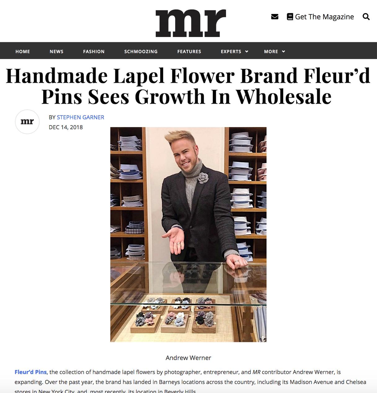 MR Magazine - Handmade Lapel Flower Brand Fleur'd Pins Sees Growth In Wholesale