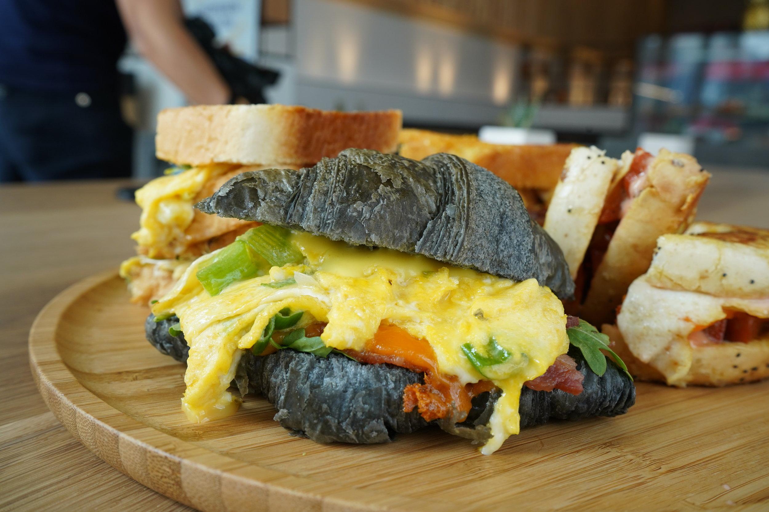 bake code charcoal croissant breakfast sandwich