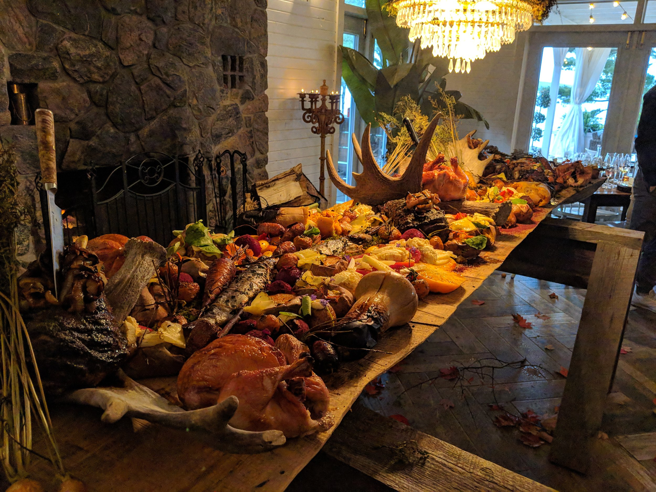 Massive Harvest Table Feast- Whole Chickens, Lamb Legs, Fish, Roasted Autumn Veggies and More