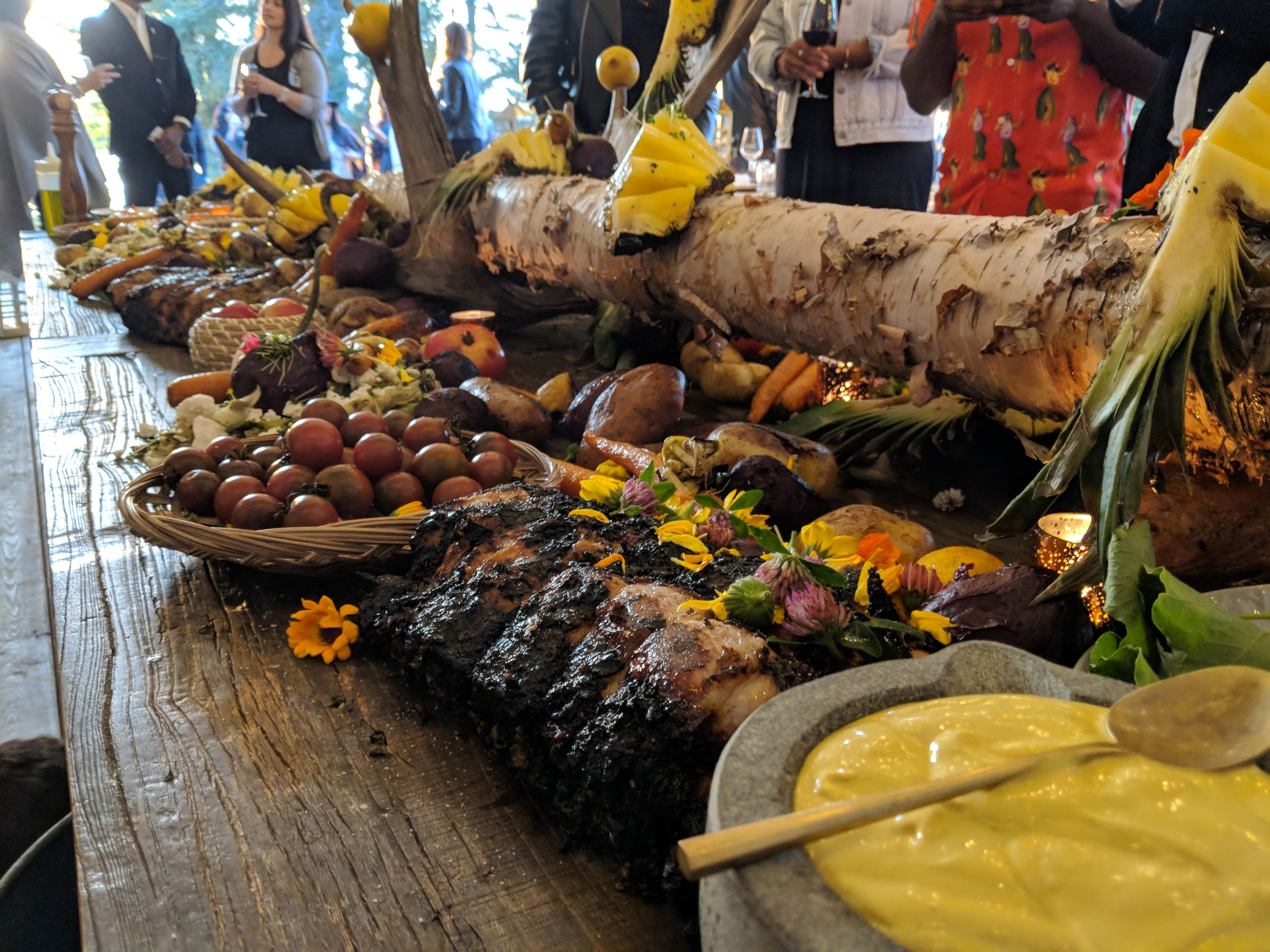 Another Harvest Table Feast, Everything Cooked Over Open Fire- Juicy Pork, Whole Chickens, Different Varieties of Tomatoes, Pineapple, Beets and More