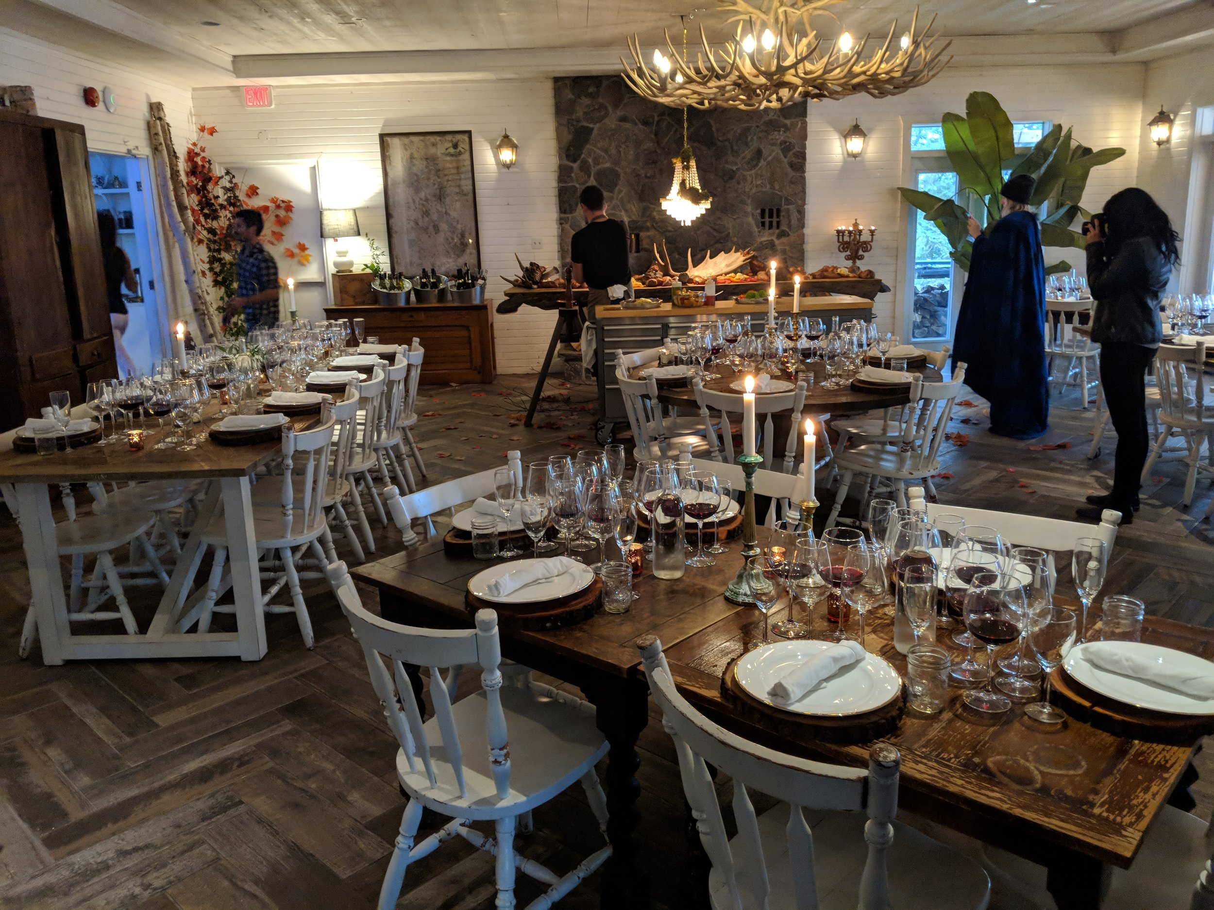 Indoor Dining Room Setup for Wine Tasting and Dinner