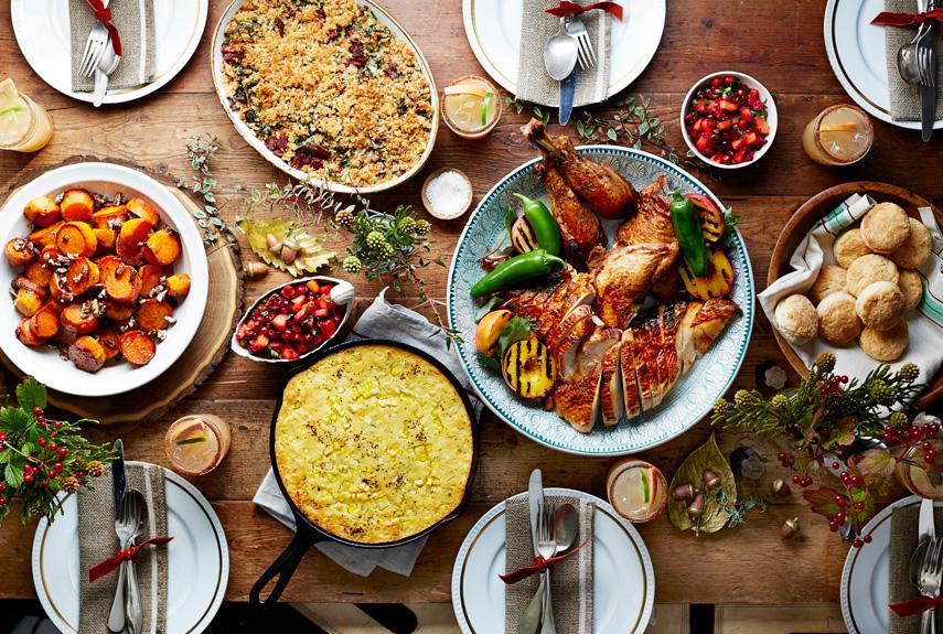 thanksgiving dinner flatlay top down