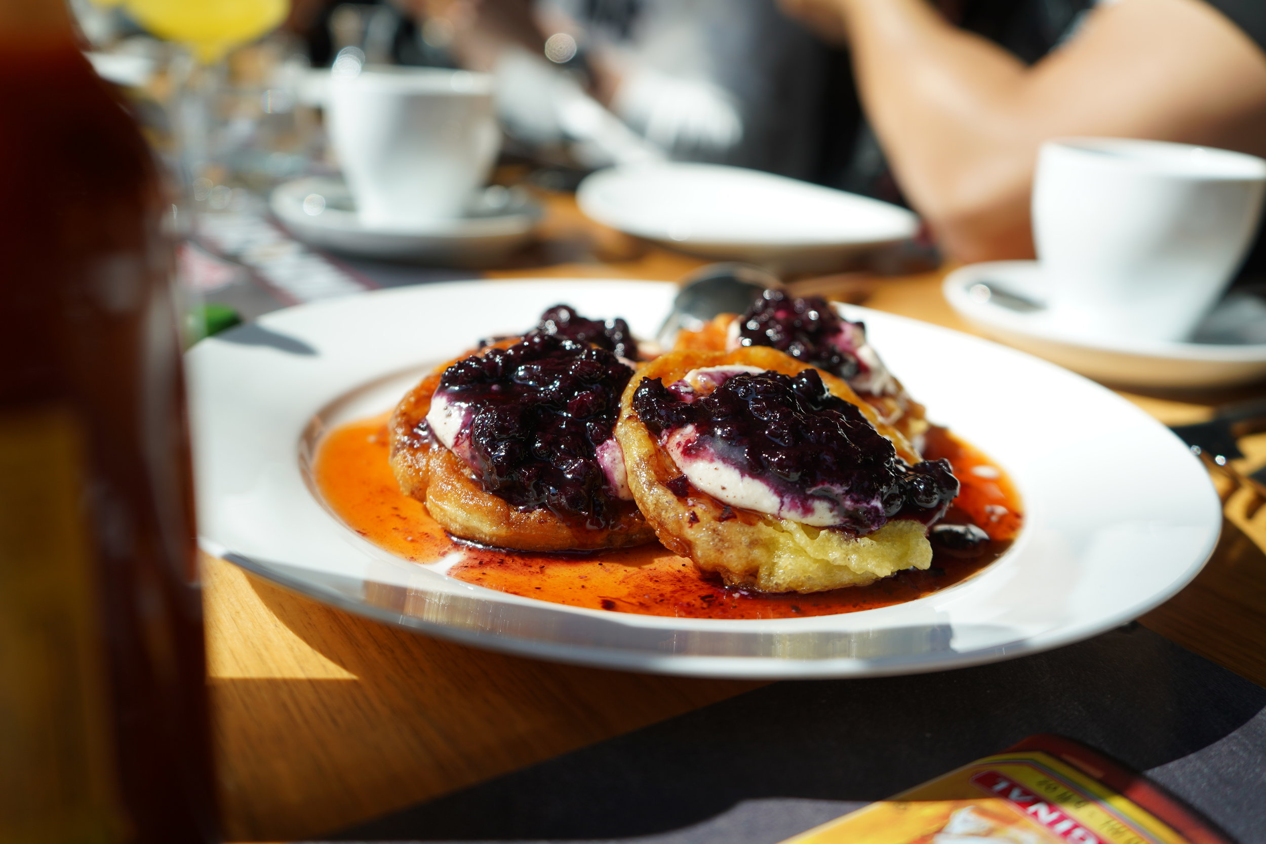 Ricotta Pancakes with Blueberry Preserves and Cholula Infused Original Maple Syrup