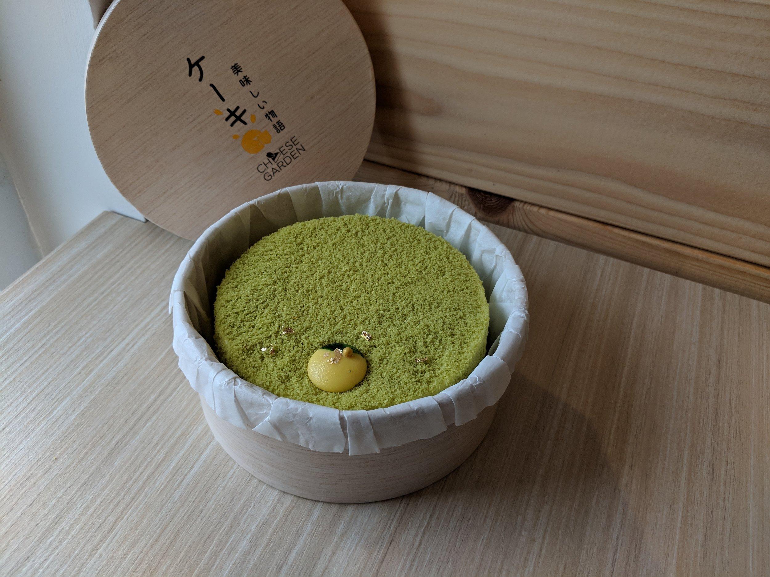 yuzu pistachio cheesecake double fromage cheese garden
