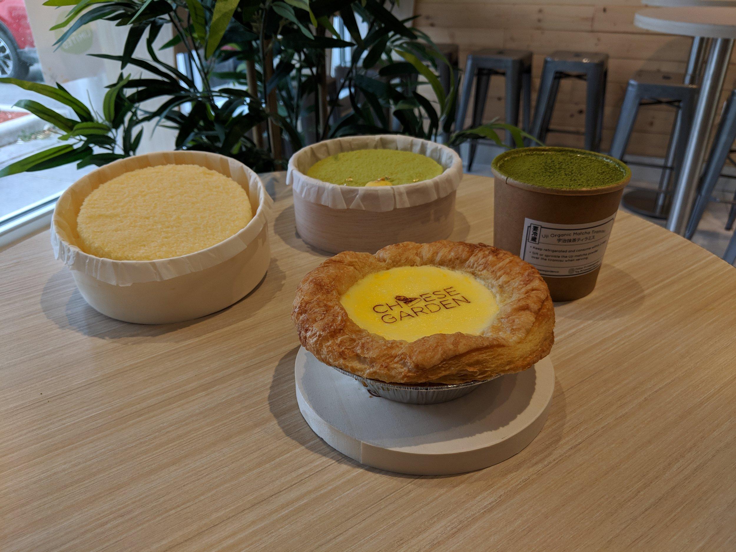 Original Double Fromage Cheesecake, Yuzu Pistachio Double Fromage Cheesecake, Uji Matcha Tiramisu, Baked Cheese Tart