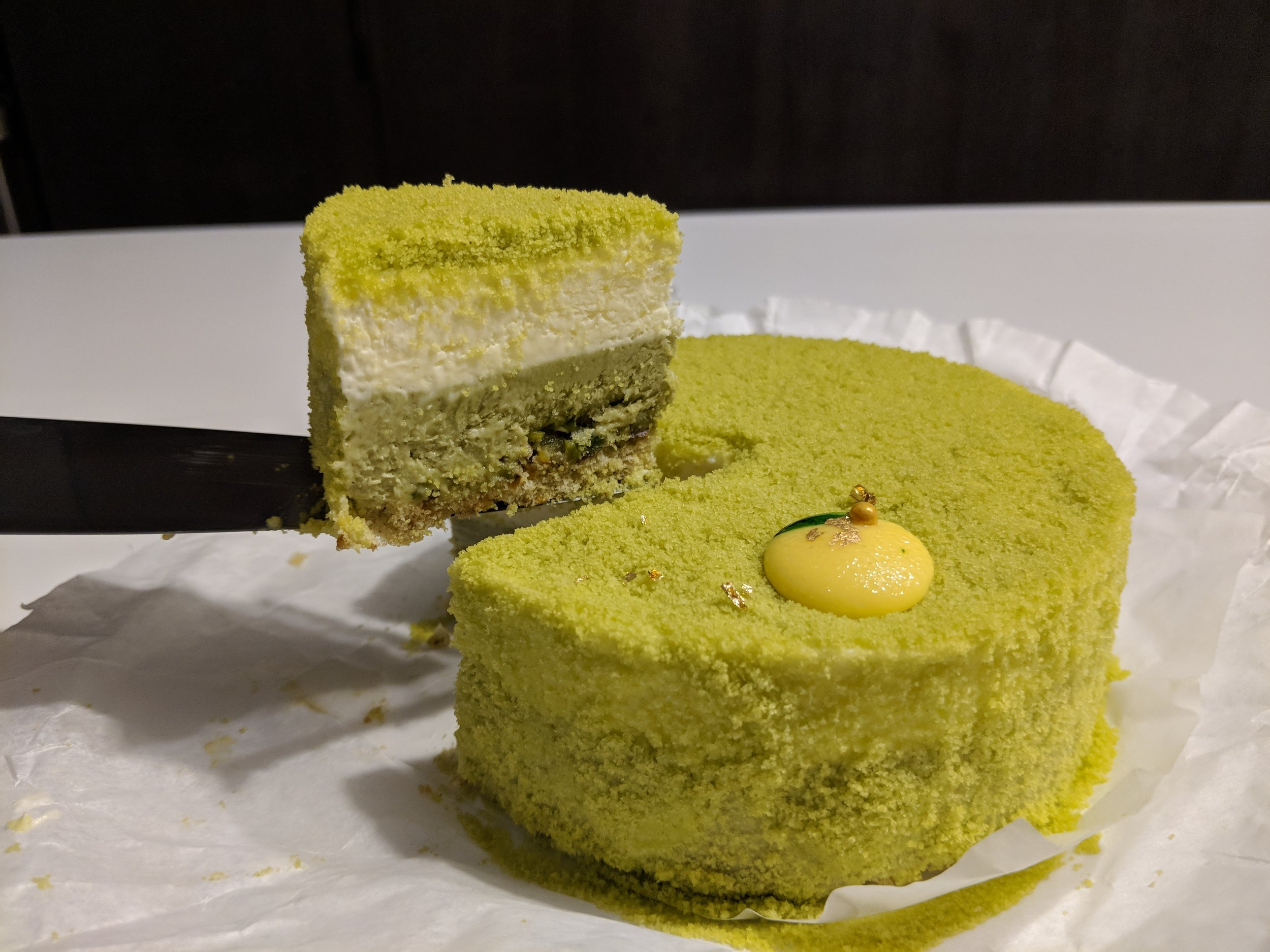 Yuzu Pistachio Double Fromage Cheesecake With Gold Flakes