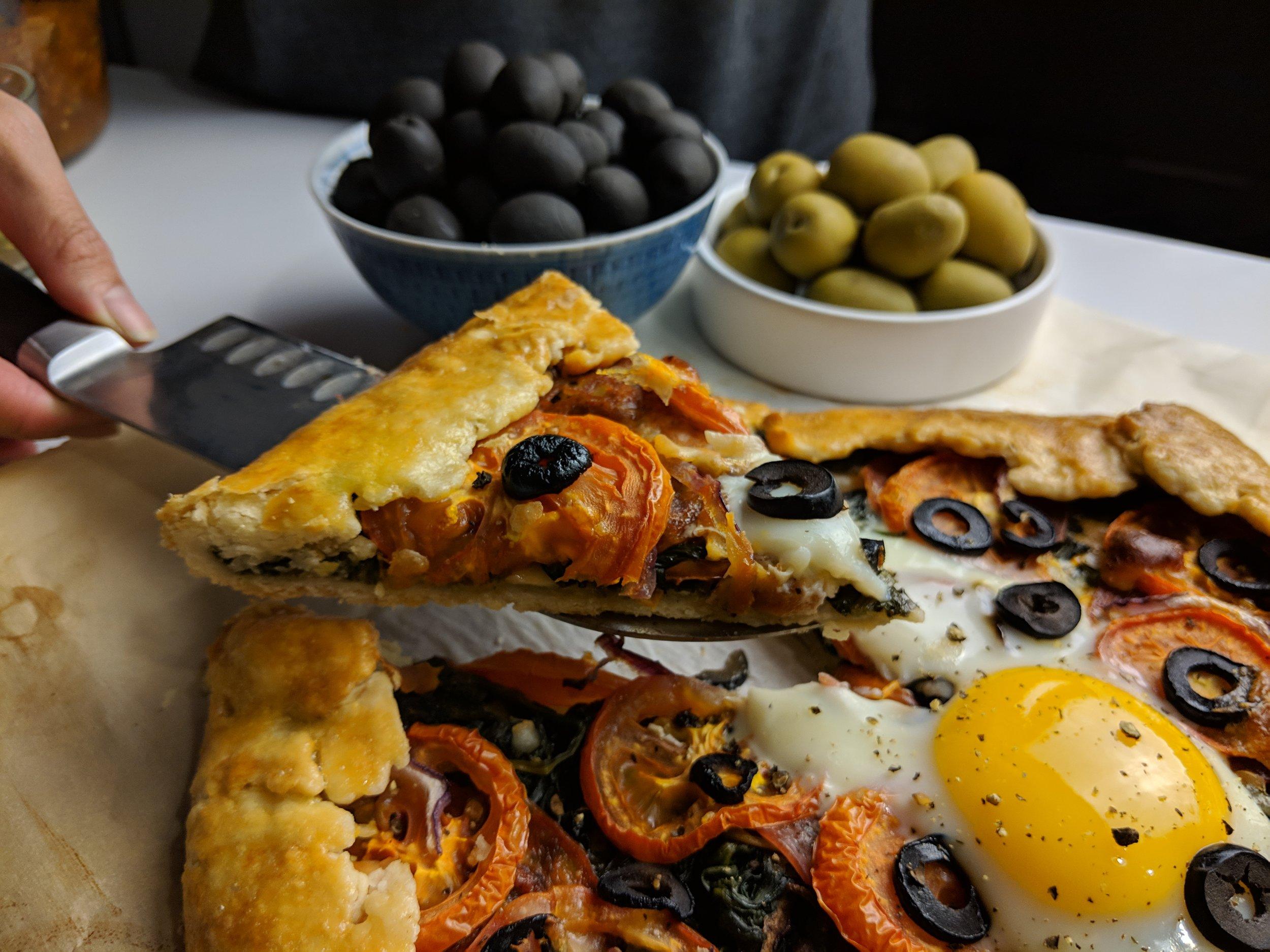 slice of olive breakfast tart canada spain recipe