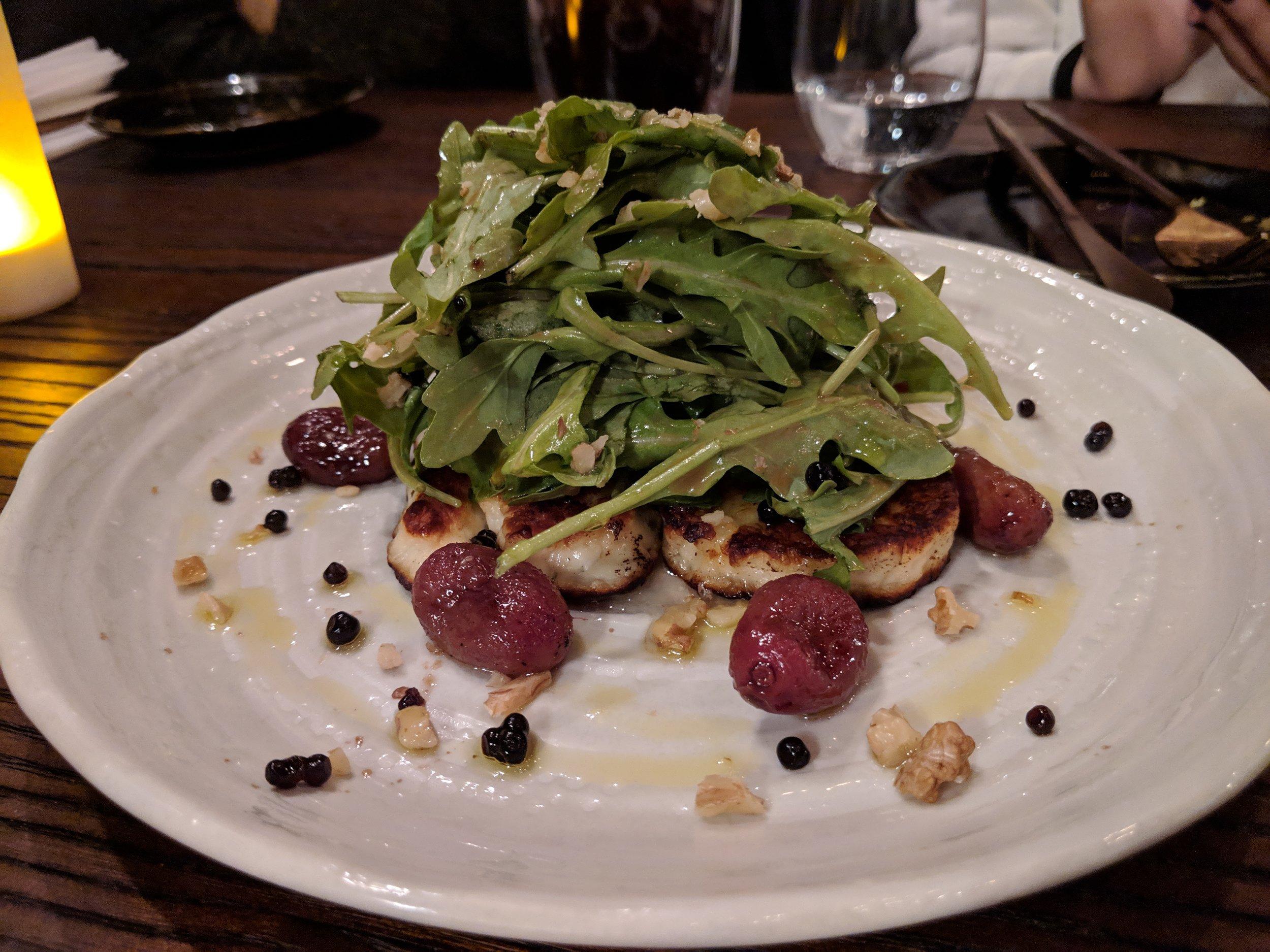Arugula Halloumi Salad with Roasted Grapes